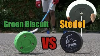 Best off ice puck? Green Biscuit vs Stedol stickhandling & dangle training puck review