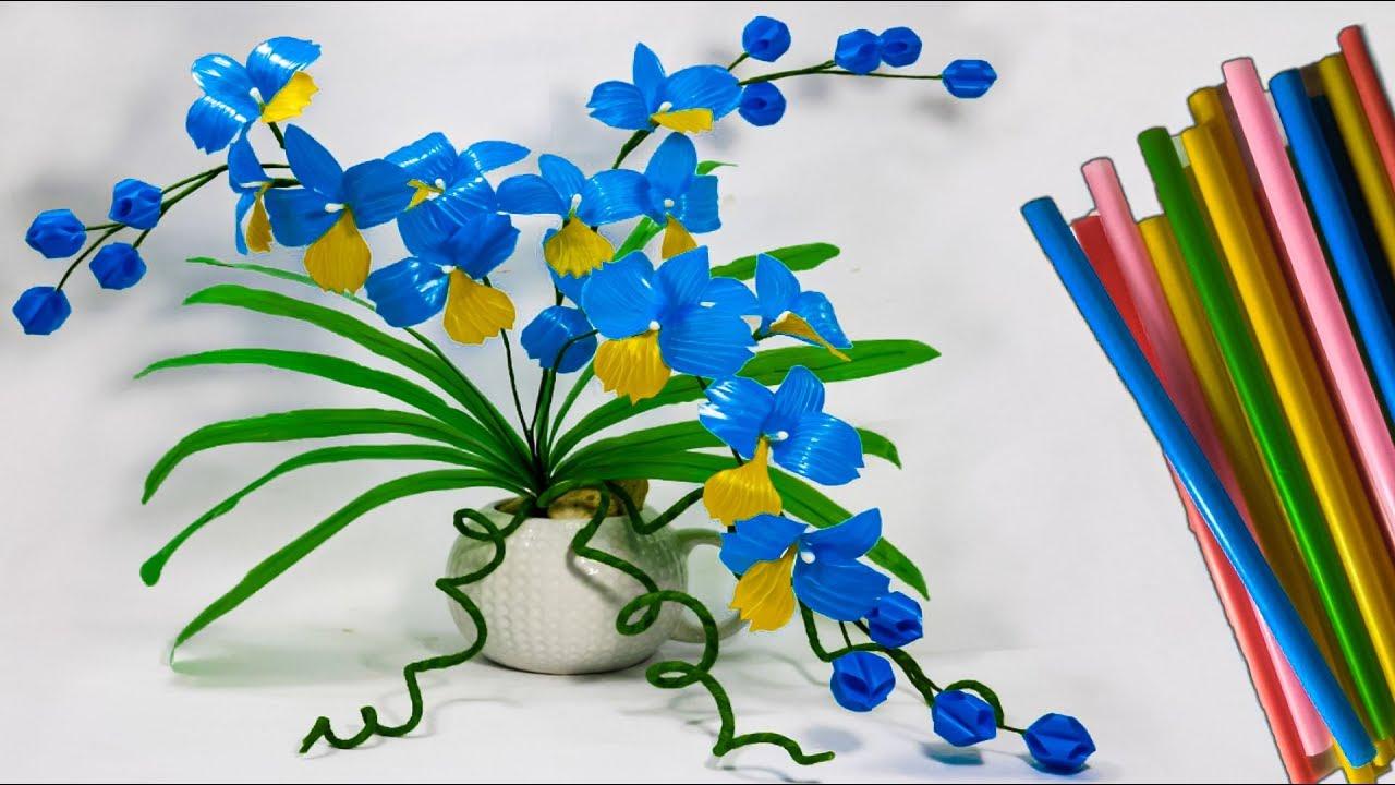 Cara Membuat Bunga Anggrek Dari Sedotan Kreatif Beautiful Flower Crafts With Straws Youtube