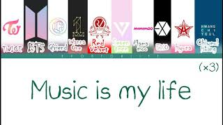 TWICE, BTS, GFRIEND, WANNA ONE, RED VELVET, ETC. 'Music Is My Life' COLOR CODED LYRI ...