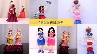 5 Easy DIY Doll Making compilation    Bottle Doll Making by Aloha Crafts