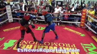 floyd mayweather letting hands go in sparring round 3 EsNews