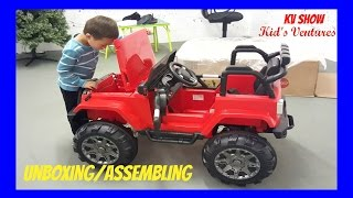 Picking Up The Toy Surprise! Unboxing/Assembling Power Wheel Ride On Jeep Wrangler w/ Remote Control - Stafaband