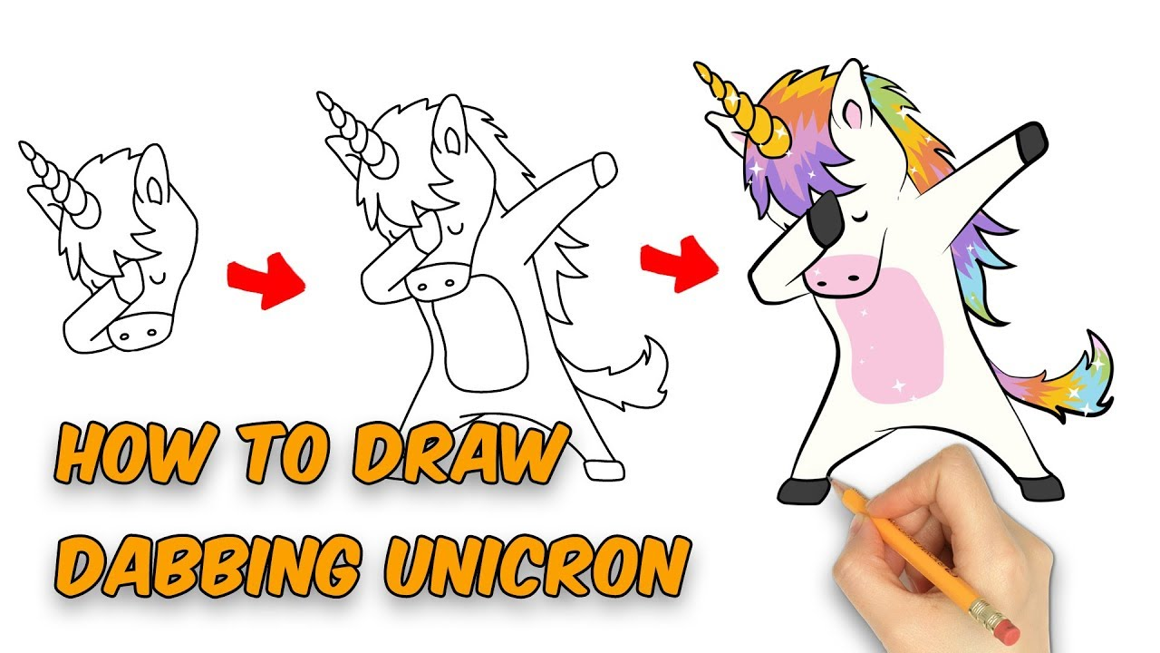 How To Draw Cute Dabbing Unicorn For Kids Easy Step By Step Youtube