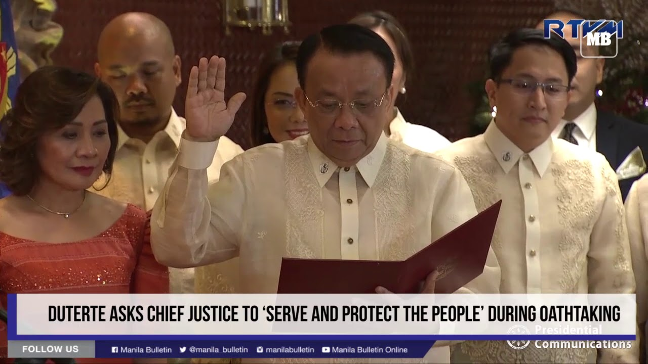 Duterte asks Chief Justice to 'serve and protect the people' during oathtaking