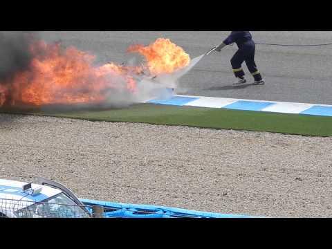 world gp legends Jerez 2015 - bike on fire