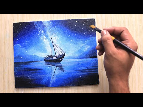 Acrylic painting of Moonlight night sky with a lonely Boat