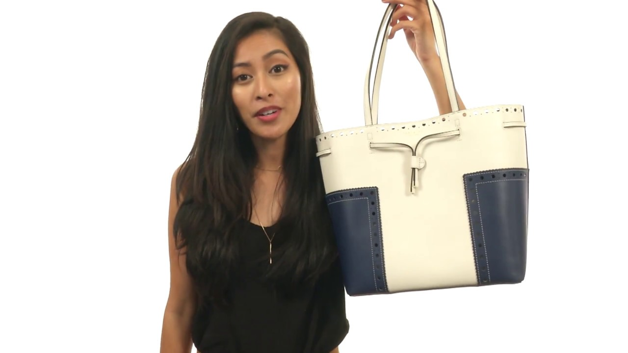 771802c4c58 Tory Burch Block-T Brogue Drawstring Tote SKU 8902273 - YouTube