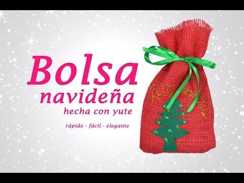 Bolsa de yute con apliques navide os manualidades de - Manualidades con fieltro para navidad ...