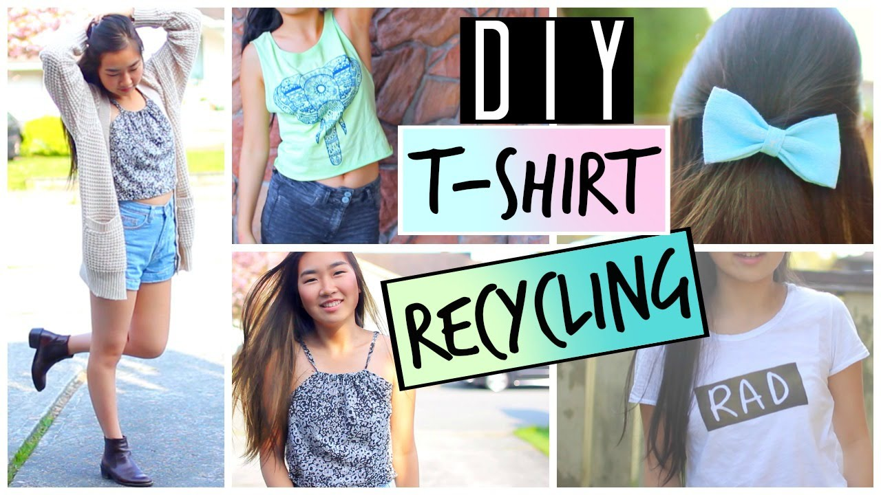 63cac3a79d68 DIY Ways to Upcycle and Recycle Old T-Shirts and Clothes | DIY Tumblr  Graphic Tee - YouTube