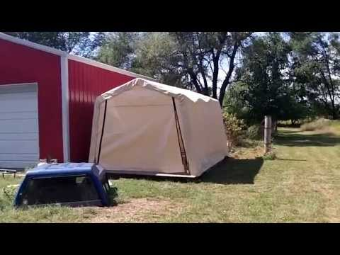 how to clean snow off shelterlogic portable tarp garage ...
