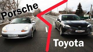 Новая Камри 3,5 против Porsche, у которого в КПП - ТАРАКАН!