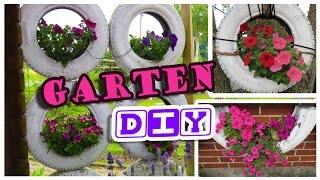 DiY Blumen Autoreifen / Sichtschutz tolle Garten Idee