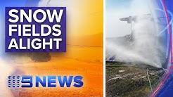 NSW Bushfires: Snow fields under threat   Nine News Australia