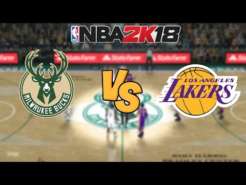 NBA 2K18 - Milwaukee Bucks vs. Los Angeles Lakers - Full Gameplay