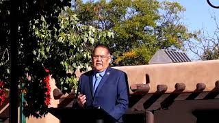 INDIGENOUS PEOPLES DAY 2019 - SANTA FE, NM  Gov Mitchell History of O'gah Po'oge - Tesuque Pueblo