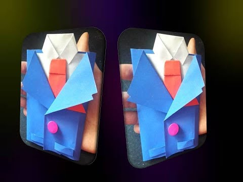 DIY Suit-Tuxedo Greeting Card Tutorial | Tie Shirt Jacket Origami Paper for ❤Happy Father's Day