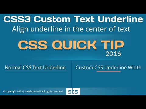 How to create custom css underline less than width of headline  | CSS3 Quick Tip 2016 - Youtube