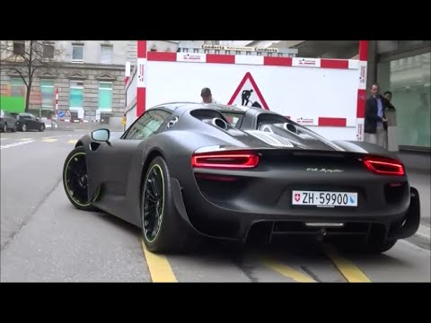 matte black porsche 918 spyder with weissach package in zrich startup revs