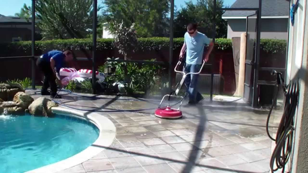 Pressure Washing A Pool Deck Surface Cleaner A Pool Deck