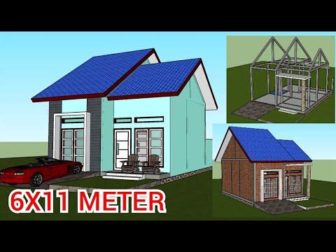 rumah minimalis 6x11 meter di desa - youtube