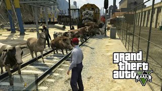 Retos de GTA 5 | animales vs tren | Grand Theft Auto V