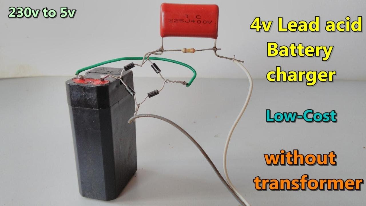 4v Lead Acid Battery Charger Without Transformer 230v Ac To 5v Dc Circuit Batterycharger Powersupplycircuit Diagram Very Low Cost