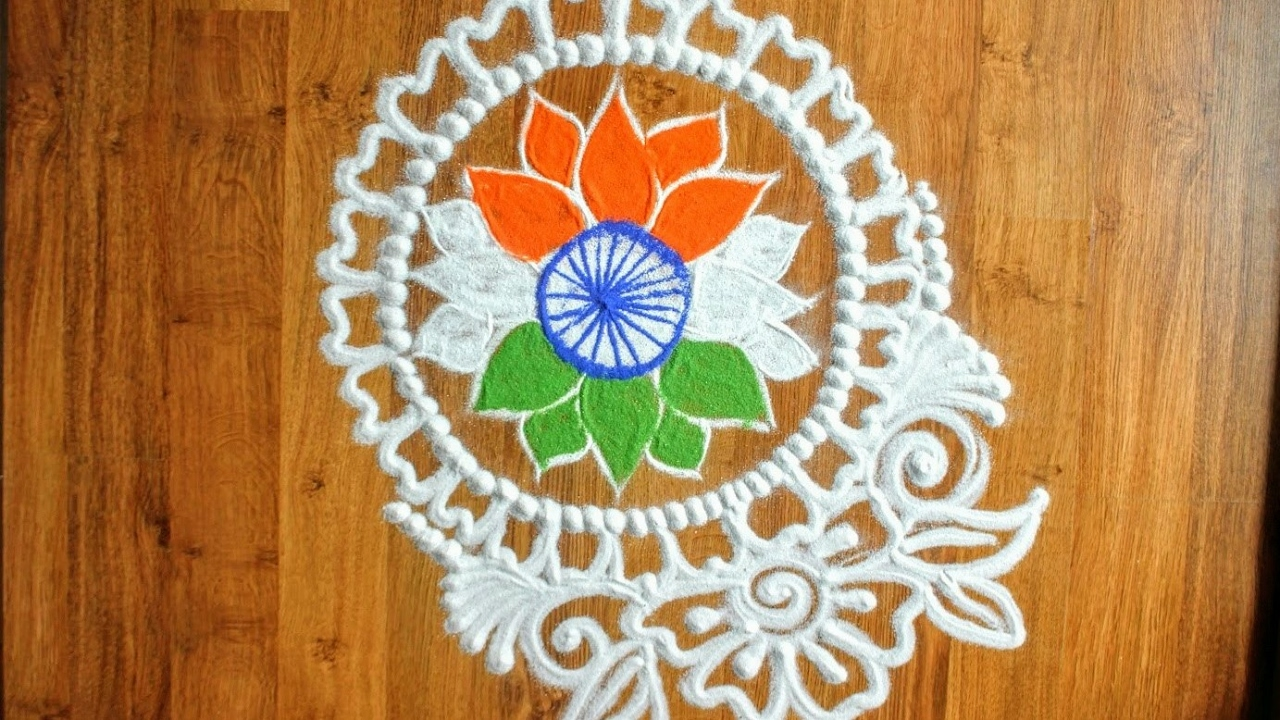 Watch Rangoli designs for Independence day video