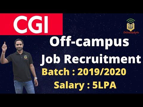 CGI off-campus Recruitment Drive| Batch 2019|2020 | Salary: 5LPA