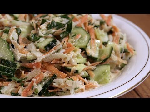 Рецепт Овощной салат из кольраби / Green salad with kohlrabi  English subtitles