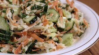Овощной салат из кольраби / Green salad with kohlrabi ♡ English subtitles