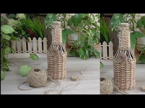 Плетение из газетных трубочек. Как оплести бутылку/How To Braid A Bottle
