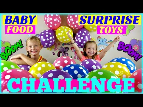 BABY FOOD CHALLENGE - Baby Food Surprise Toys and Giant Balloon Pop