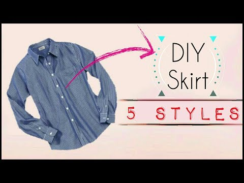 DIY: Convert old shirt into Skirts 5 Style | Recycle Old Sleeve Shirts