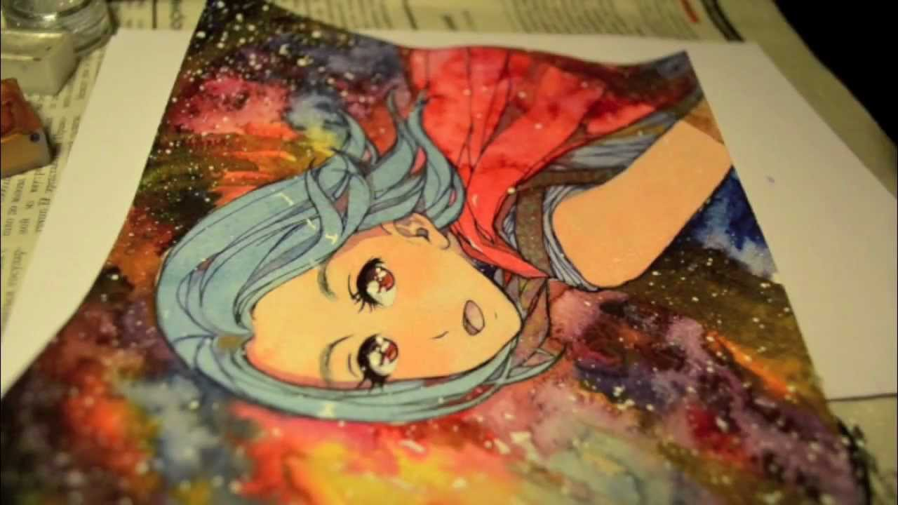 Space watercolor tutorial youtube for Space tutorial