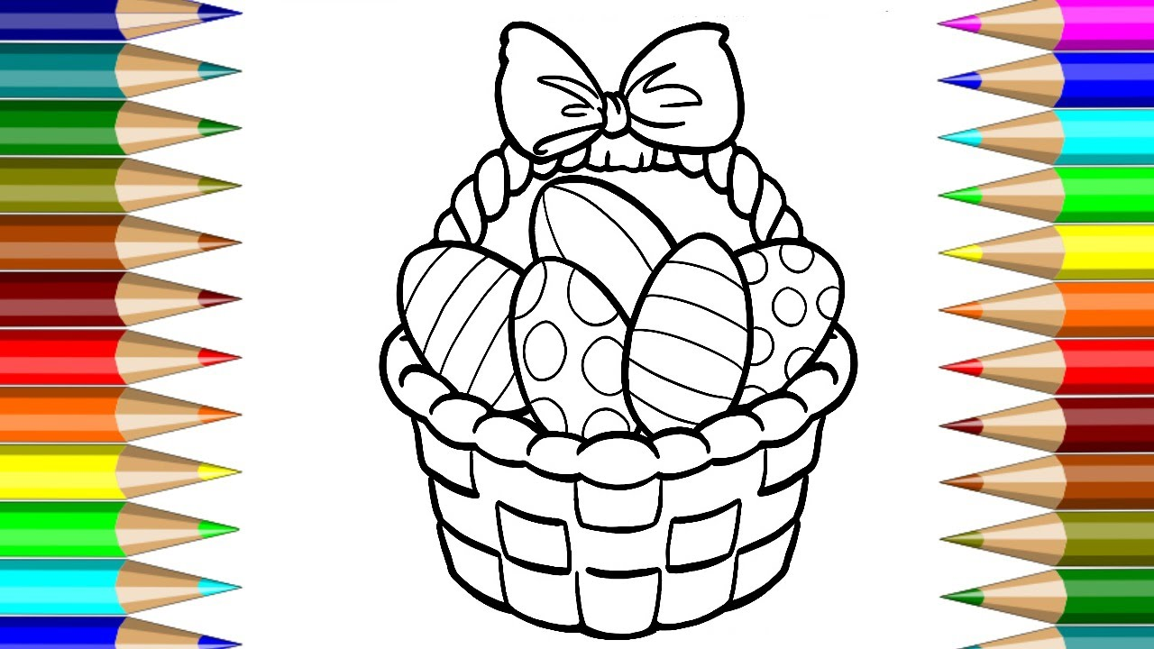 how to draw easter egg basket coloring book video for kids fun