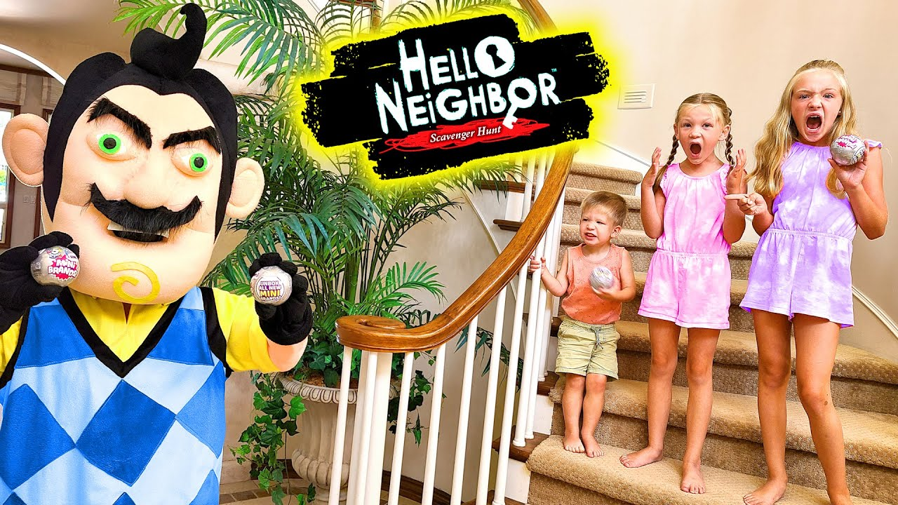 Hello Neighbor Finds Our Lake House!!! Mini Brands Toy Scavenger Hunt!