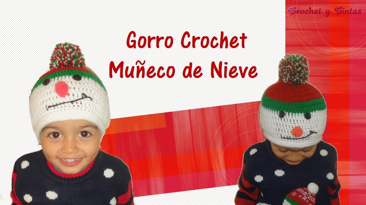 Gorro de navidad muñeco de nieve tejido a crochet - YouTube
