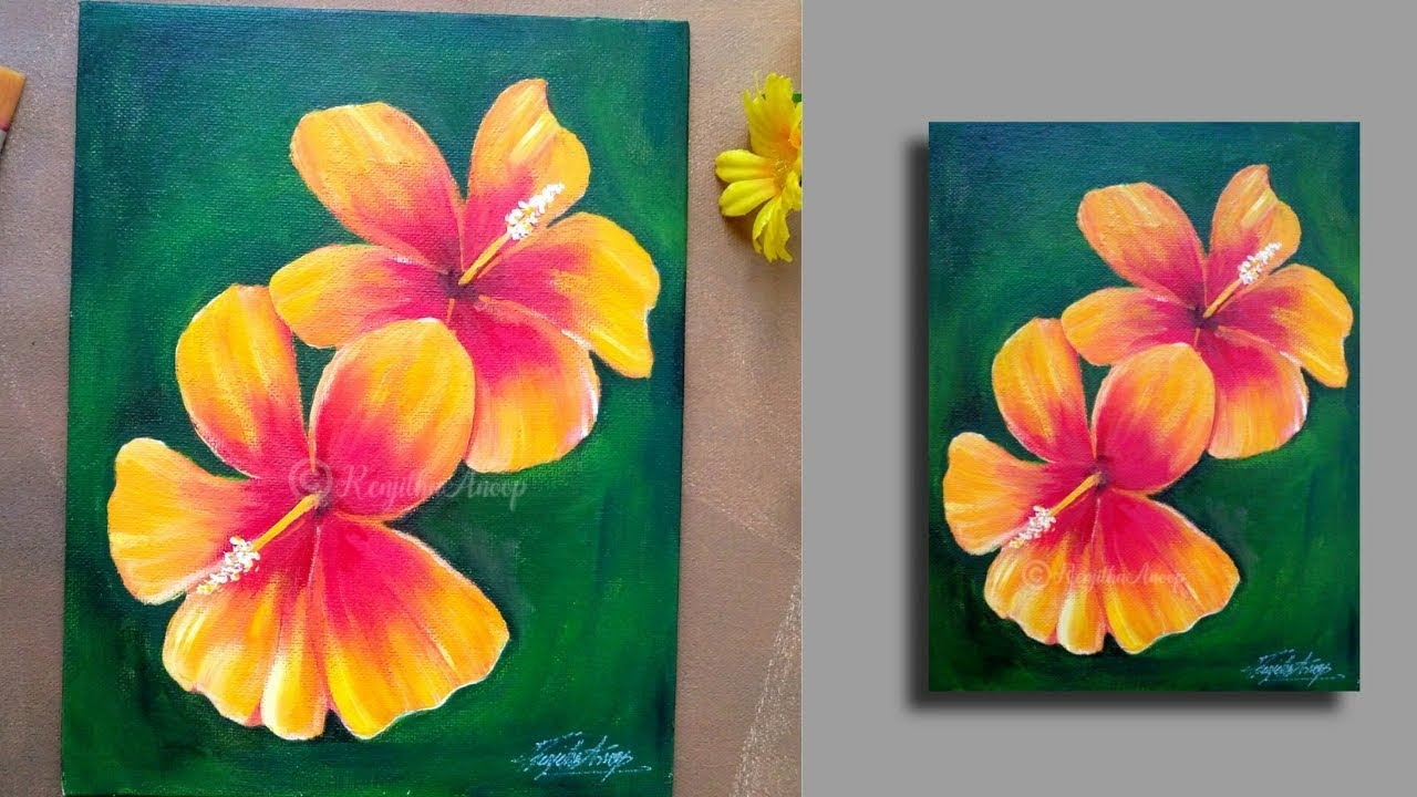 Step By Step Acrylic Painting Flowers On Canvas Hibiscus Painting Tutorials Learn To Paint 36 Youtube