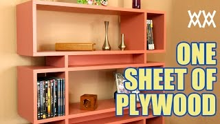 Make a cool bookcase using a single sheet of plywood. Read more about this project here: http://woodworking.formeremortals.net/