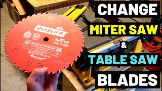 How To CHANGE MITER SAW + TABLE SAW BLADES--Fast and Easy Tips! (Blade Arbor/Blade Spin Direction)