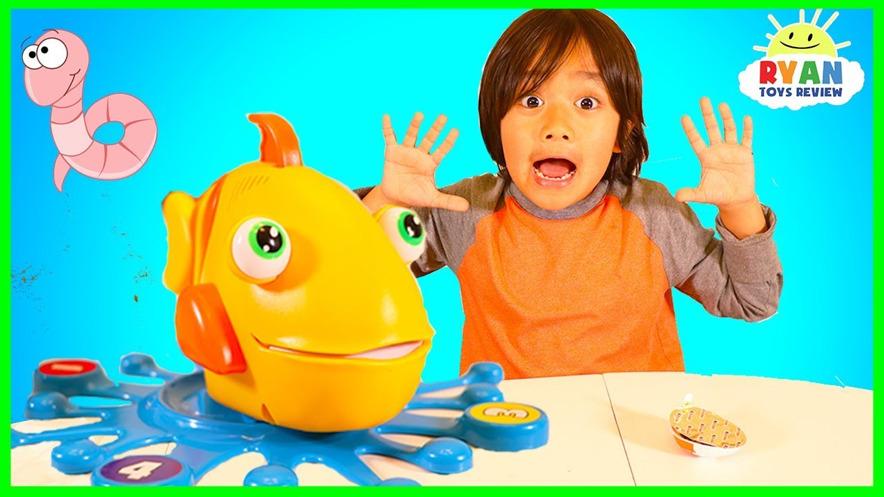 Let's Go Fishing with Fish Food Game for kids with Ryan ToysReview
