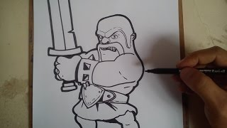COMO DIBUJAR A BARBARIAN - CLASH OF CLANS / how to draw barbarian - clash of clans