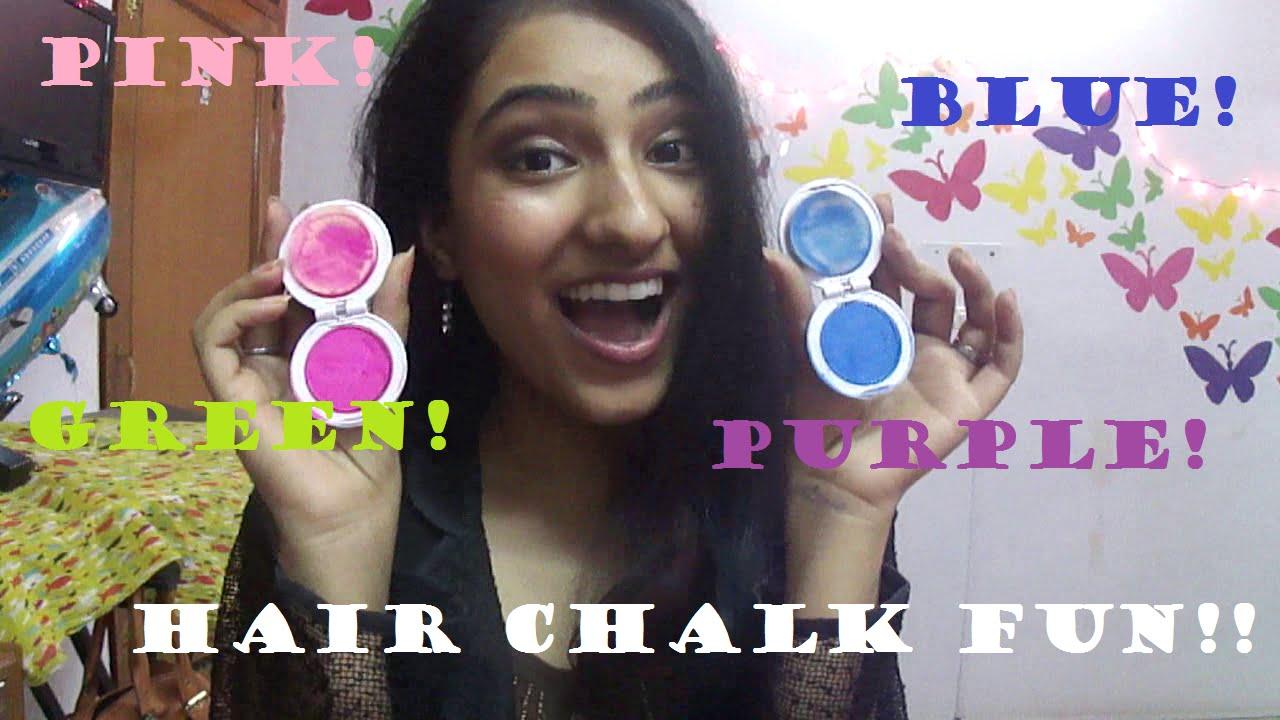 Lets Try HAIR CHALKtemporary Hair Colour YouTube - Hair colour chalk