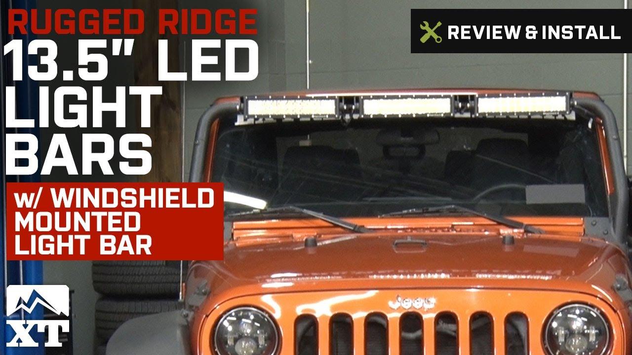 Jeep Wrangler Rugged Ridge 135 LED Light Bars w Windshield Bar