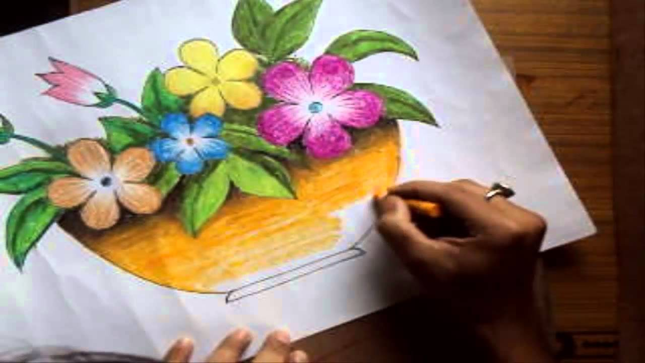How To Draw A Flower Vase With Oil Pastel Long Version