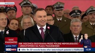 Przemówienie Prezydenta Andrzeja Dudy - 100 Lecie Niepodległości