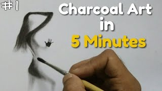 Easy charcoal art Tutorial | How to draw with charcoal powder