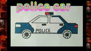 Police van easy drawing !! for kids !! police car