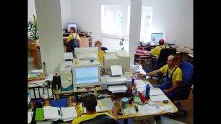 Industriekletterer Dresden der DiBaB GmbH im Büro anno 2001