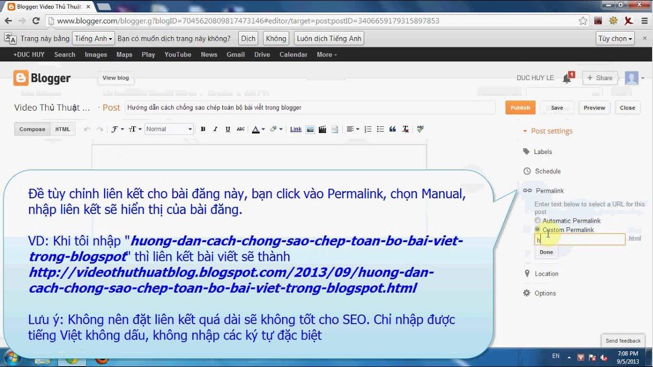 Cách tùy chỉnh liên kết (đường Link) cho bài viết trong blogspot